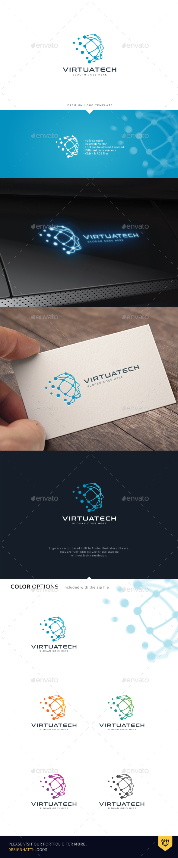 Human Head Virtual Technology - Humans Logo Templates