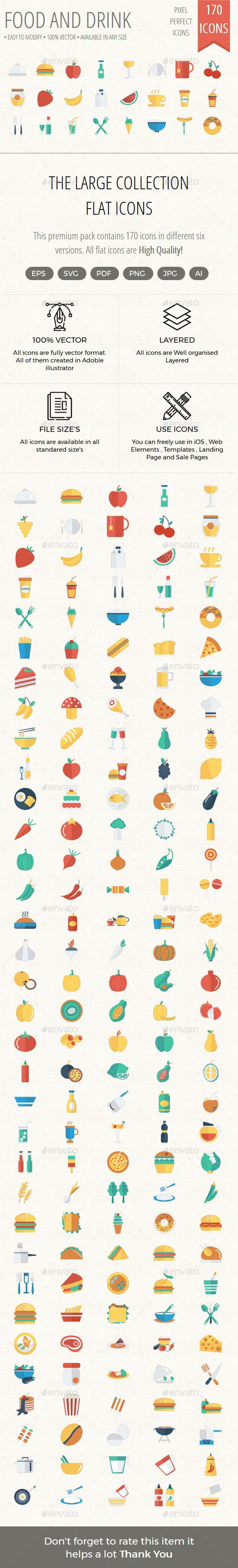 Food and Drinks Flat icon - Icons