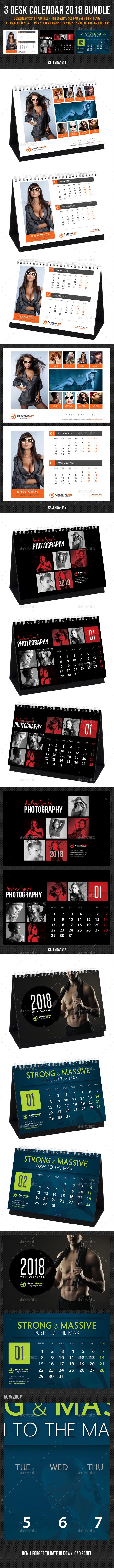 3 in 1 Creative Desk Calendar 2018 Bundle 04 - Calendars Stationery