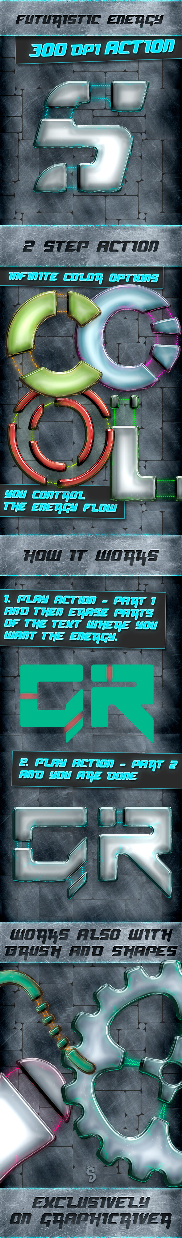 Energy Text and Shape Action - 300 DPI - Text Effects Actions