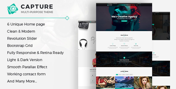 Capture One Page Multipurpose Html Template By Gptheme Themeforest