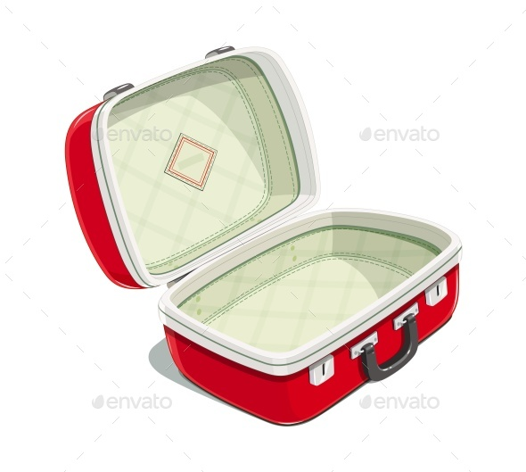 Red Open Suitcase for Travel - Travel Conceptual