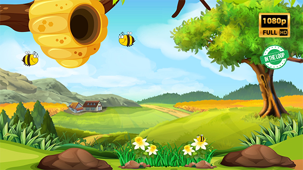 bees cartoon background by eyecyber videohive