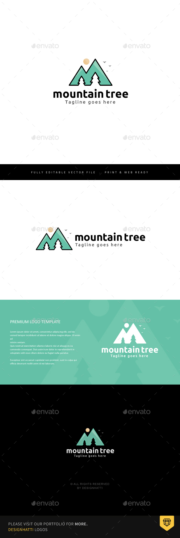 Mountain Tree Logo - Nature Logo Templates