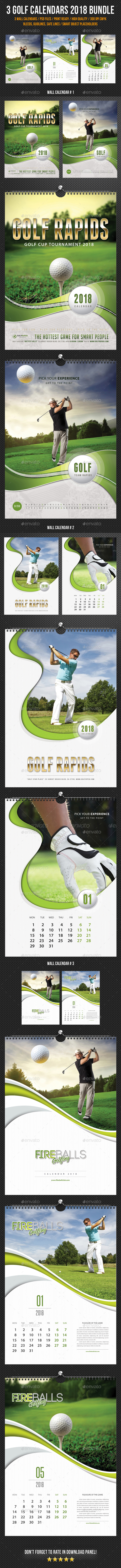3 Golf Play Wall Calendar 2018 Bundle