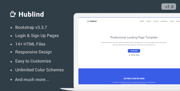 Hublind - Responsive Landing Page Template