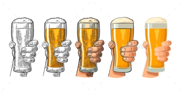 Man Hand Holding and Clinking Beer Glass - Food Objects