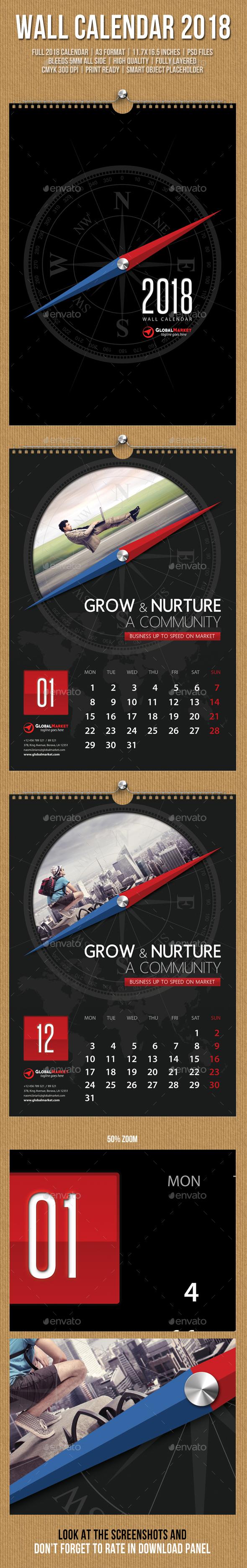Wall Calendar A3 2018 V15
