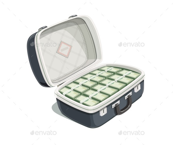 Black Open Briefcase with Bundle of Dollars - Man-made Objects Objects