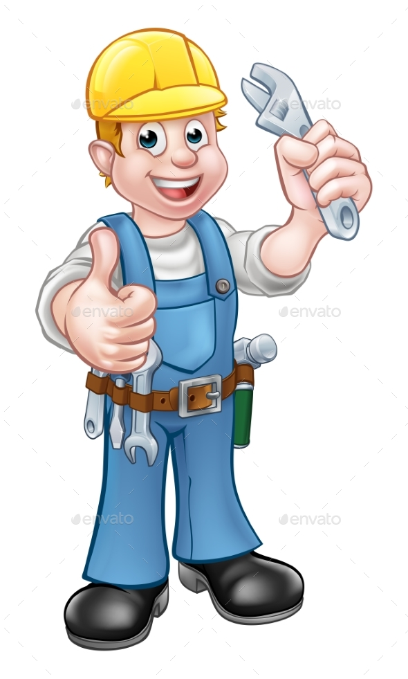 Cartoon Character Plumber or Mechanic - Industries Business