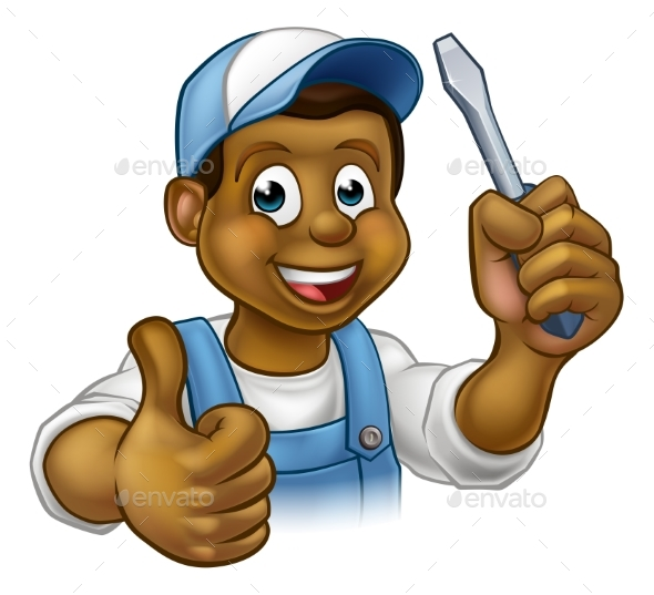 Cartoon Electrician Handyman with Screwdriver - People Characters
