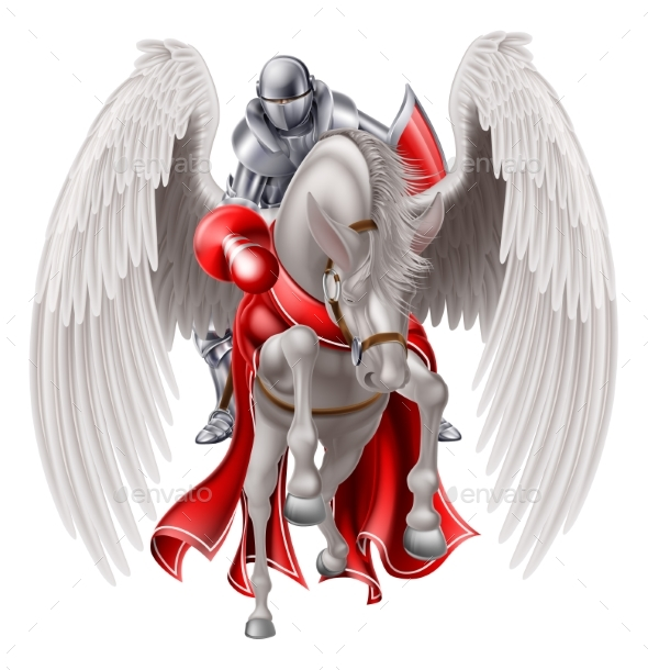 Knight on Pegasus Horse - Animals Characters