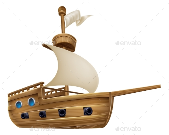 Cartoon Sailing Ship - Miscellaneous Vectors