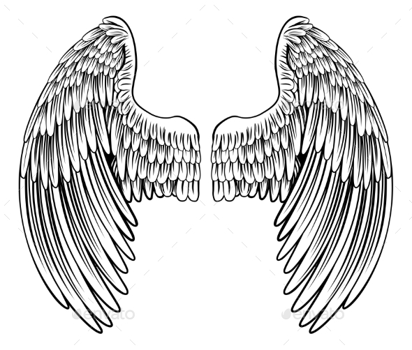 Pair of Angel or Eagle Wings - Animals Characters