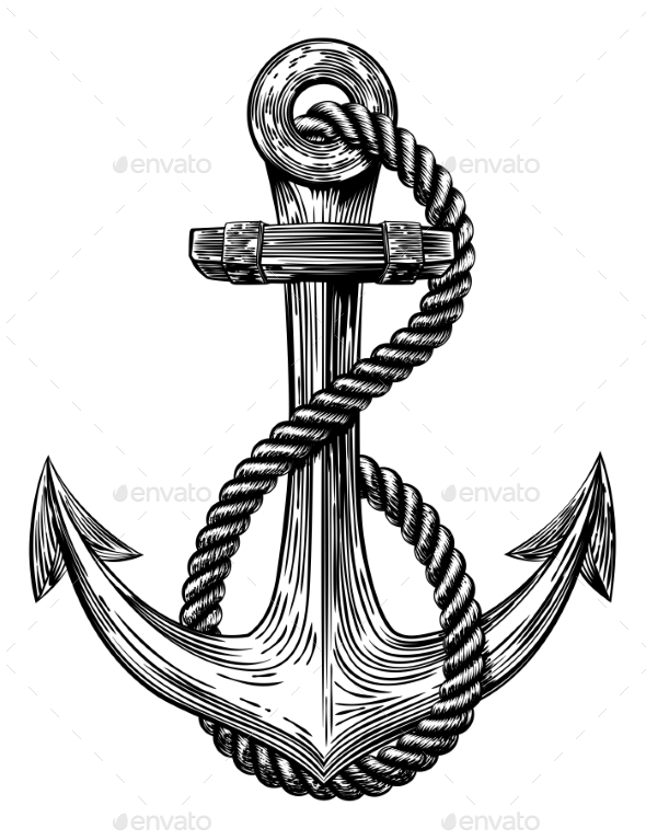 Anchor Tattoo Line Drawing : Anchor vintage woodcut style by krisdog graphicriver