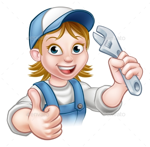 Cartoon Mechanic or Plumber Woman Holding Spanner - People Characters