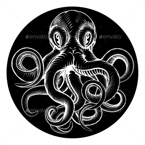 Octopus Vintage Woodcut Engraved Etched Style - Animals Characters