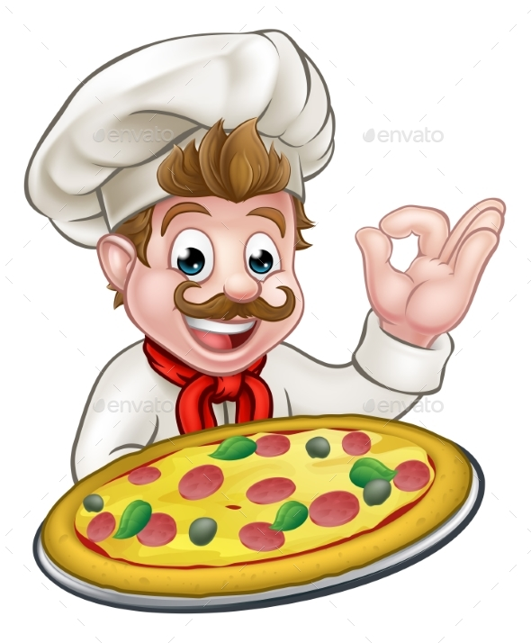 Chef Pizza Cartoon Character Mascot - Food Objects