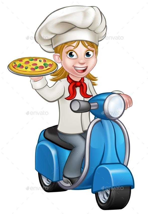 Cartoon Woman Pizza Chef on Delivering PIzza - People Characters