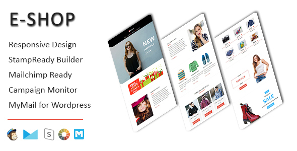 E-Shop – Ecommerce Responsive Email Template with Stampready Builder Access
