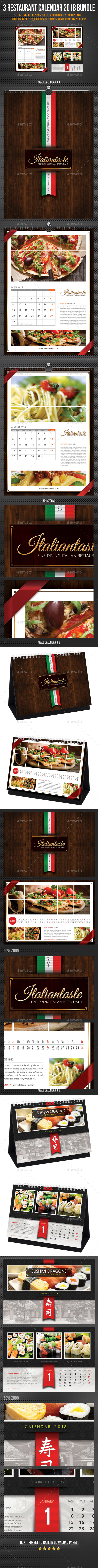3 in 1 Restaurant Calendar 2018 Bundle