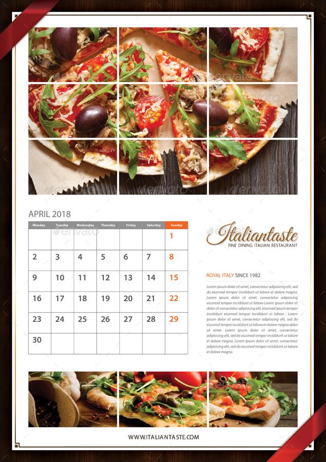 3 In 1 Restaurant Calendar 2018 Bundle By Rapidgraf