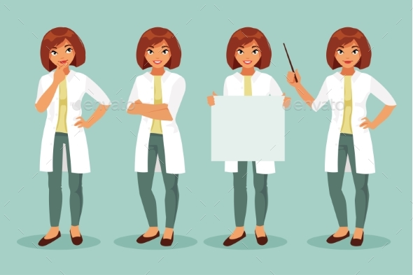 Woman Doctor Set - Health/Medicine Conceptual