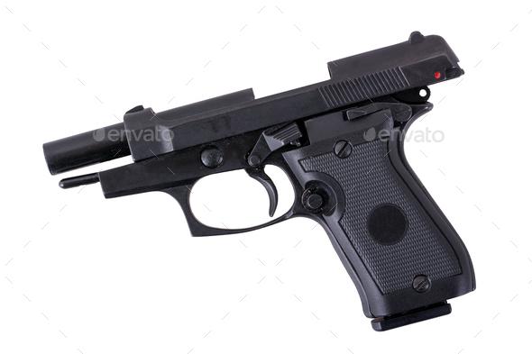 Black semi automatic handgun on a white background - Stock Photo - Images