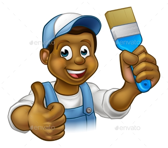 Painter Decorator Cartoon Character - People Characters