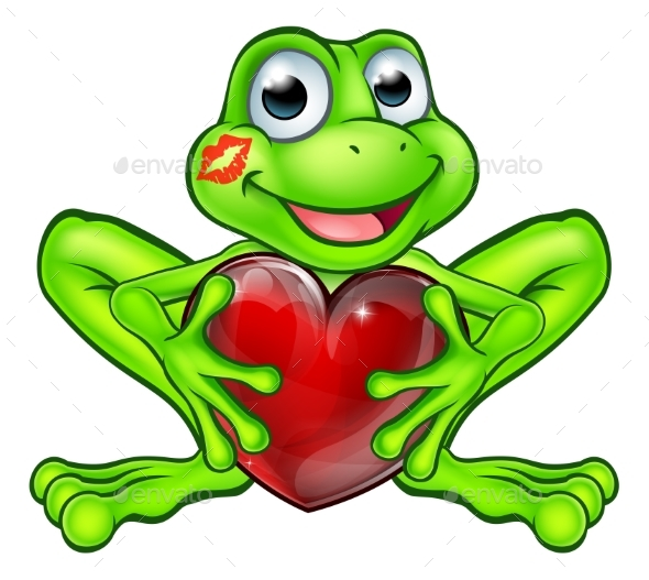 Cartoon Frog with Kiss and Love Heart - Animals Characters