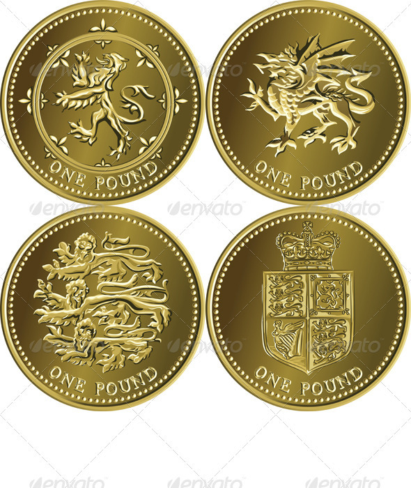 Vector Set British Money Gold Coin One Pound  - Concepts Business