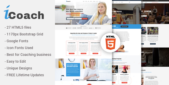 iCoach – For Coaches, Speakers, Fitness Trainers & Entrepreneurs HTML5 Template