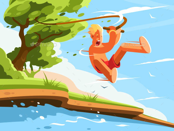 Guy Jumps Into Water - Miscellaneous Vectors