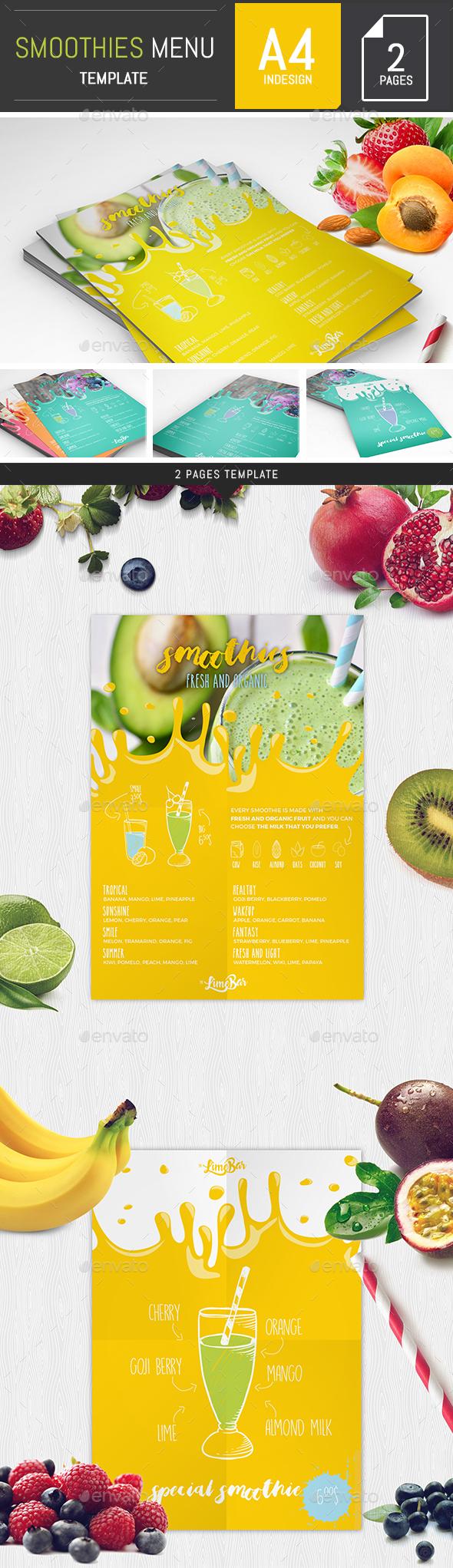 Smoothies Menu Template - Food Menus Print Templates