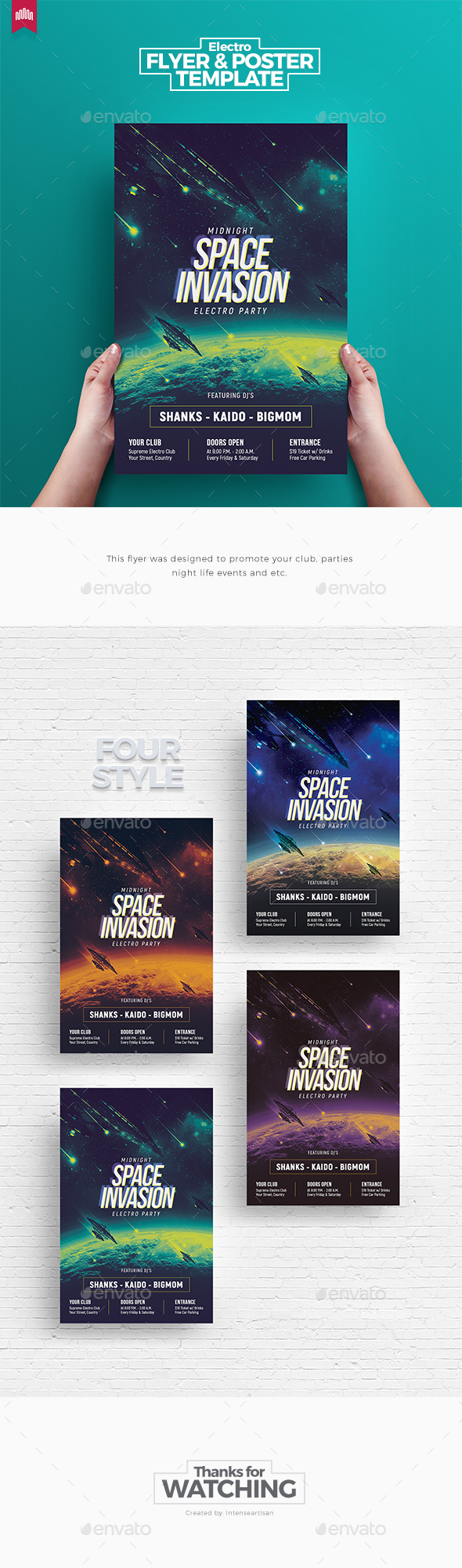 Space Invasion - Flyer Template - Clubs & Parties Events