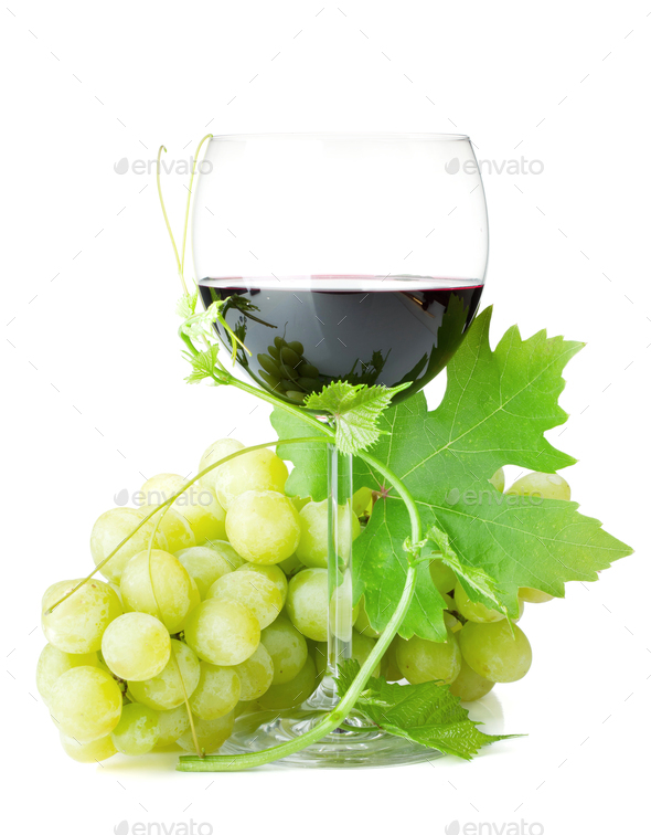 Red wine glass and grapes - Stock Photo - Images