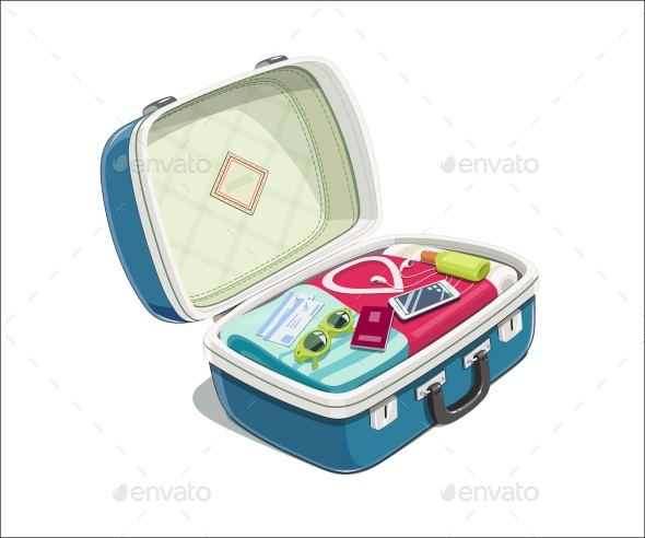 Open Suitcase with Clothes for Travel - Travel Conceptual