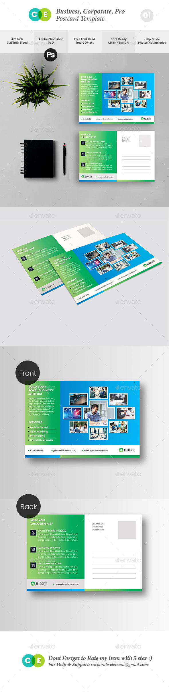 Clean Corporate Pro Postcard  V01 - Cards & Invites Print Templates