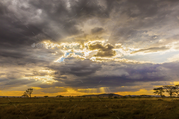 Beautiful and dramatic african landscape - Stock Photo - Images