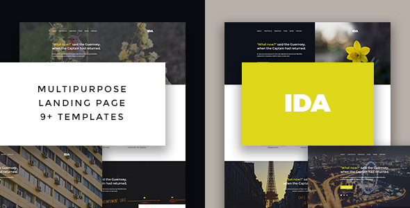 Ida – Responsive Multipurpose Bootstrap Landing Page