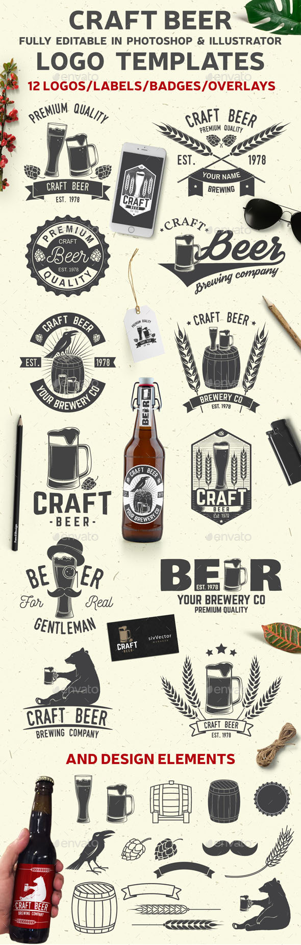 Craft Beer - Badges & Stickers Web Elements