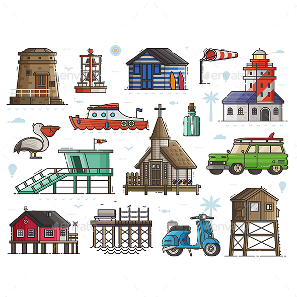 Travel Seaside Fishing Village Set - Travel Conceptual