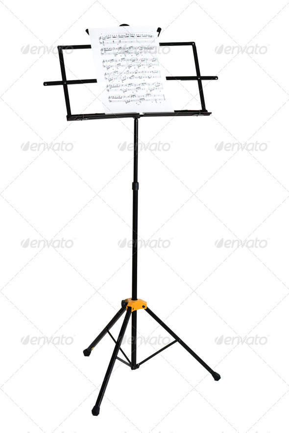Music stand with piano notes isolated - Stock Photo - Images