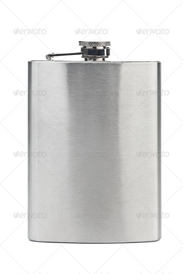 Stainless hip flask - Stock Photo - Images
