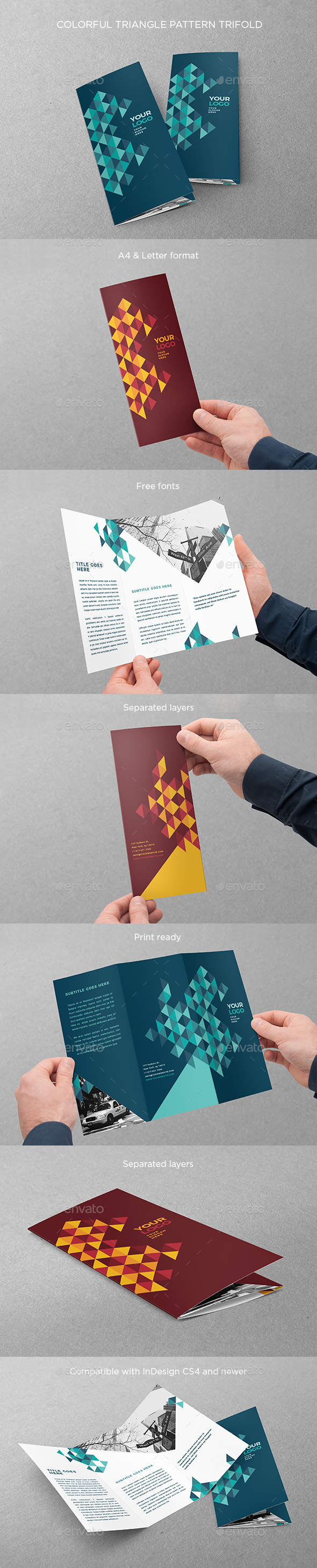 Colorful Triangle Pattern Trifold - Brochures Print Templates