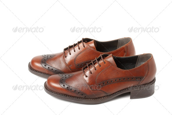 Two brown shoes isolated on white - Stock Photo - Images