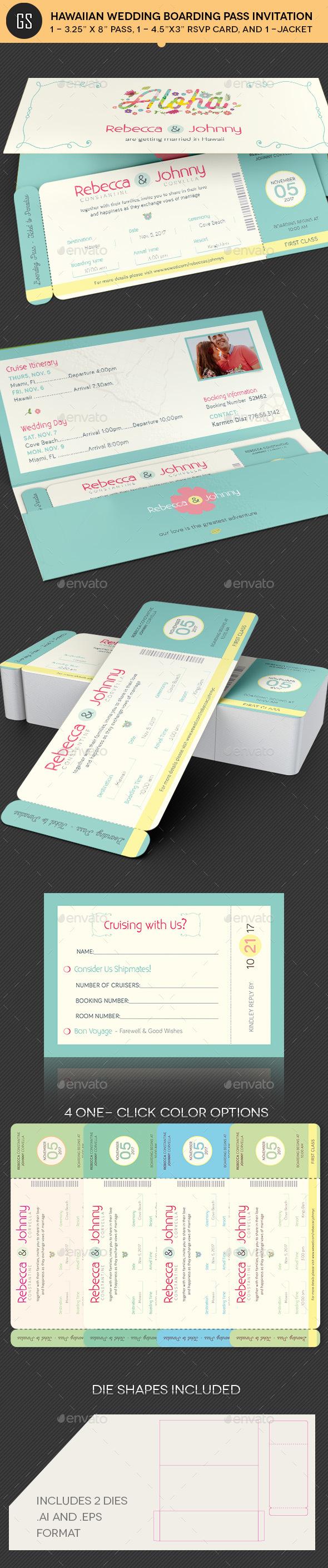 Hawaiian Wedding Boarding Pass Invitation Template - Invitations Cards & Invites