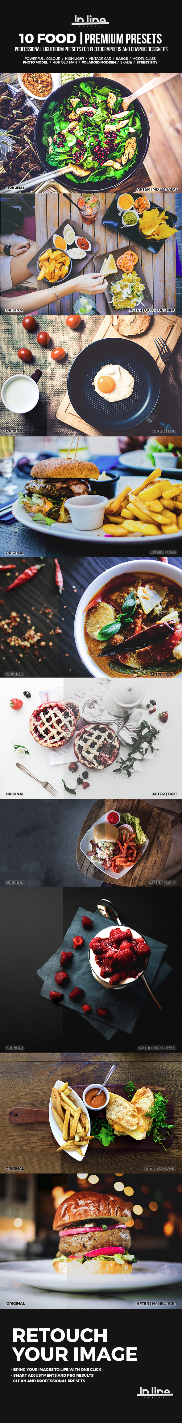 10 Food Premium Presets Lightroom - Lightroom Presets Add-ons