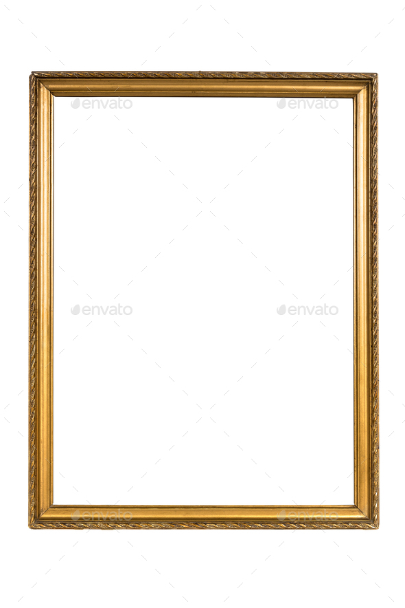 Decorative golden picture frame isolated on white - Stock Photo - Images