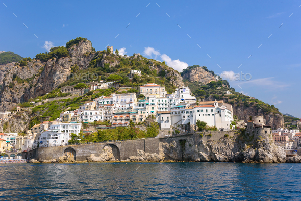 Architecture of Amalfi town in Italy - Stock Photo - Images